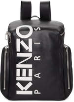 Kenzo Black Leather Logo Backpack