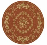 "Safavieh Courtyard Collection CY1893-3202 Terracotta and Natural Indoor/ Outdoor Round Area Rug, 6 feet 7 inches in Diameter (6'7"" Diameter)"