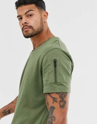 Jack and Jones Core curved hem scoop neck t-shirt in green