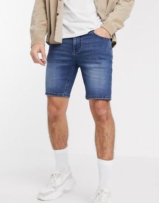 ASOS DESIGN skinny denim shorts with power stretch in dark wash blue