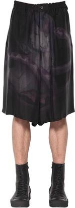 Yohji Yamamoto Snake Woman Print Cupro Shorts