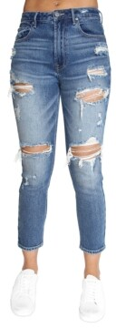 Almost Famous Juniors' Ripped High-Rise Mom Jeans