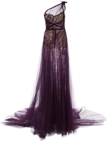 Marchesa One Shoulder Draped Tulle Gown