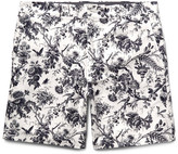 Club Monaco Baxter Slim-fit Printed Linen And Cotton-blend Shorts - White