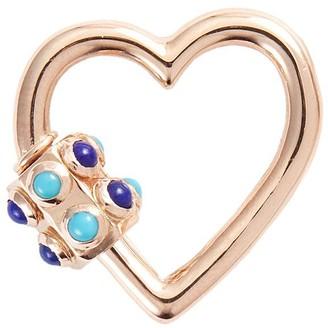 Marla Aaron 'Heart' turquoise lapis 14k rose gold lock
