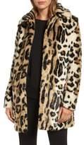 Kensie Women's Leopard Spot Faux Fur Coat