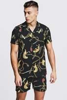 BoohooMAN Tiger Chain Print Short Sleeve Shirt