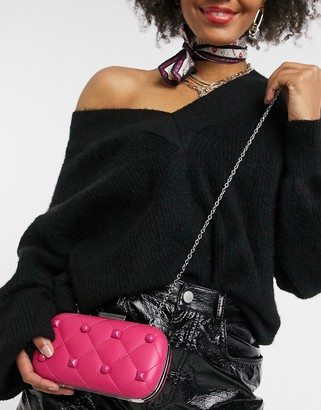 Love Moschino quilted and studded clutch bag with chain in pink