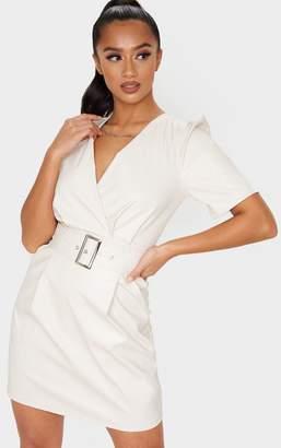 PrettyLittleThing Petite Cream Belted Puff Sleeve PU Dress