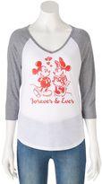 "Disney Disney's Juniors' Mickey & Minnie Mouse ""Forever"" Raglan Graphic Tee"