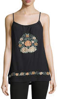 Band of Gypsies Floral-Embroidered Gauze Halter Tank