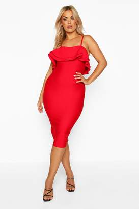 boohoo Plus Sculpt Bandage Frill Midi Dress