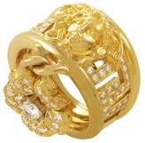 Versace 18K Yellow Gold 1.35ct. Diamond Flower Charm Band Ring Size 6.25