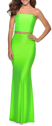 La Femme Two-Piece Jersey Dress Set with Strapless Top & Skirt