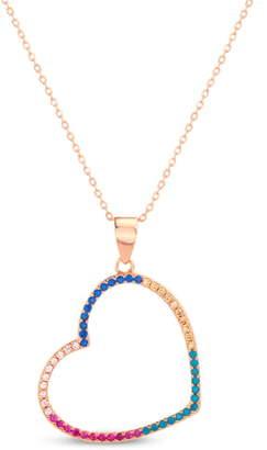 Lesa Michele Multicolor Cubic Zirconia Open Heart Pendant Necklace