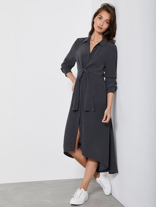 Mint Velvet Charcoal Tie Front Shirt Dress - Dark Grey