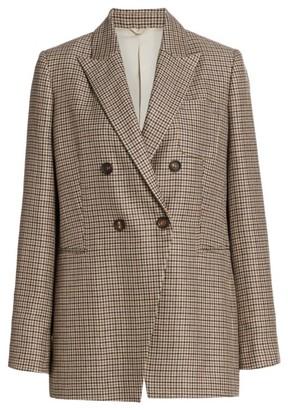 Brunello Cucinelli Houndstooth Double-Breasted Linen & Wool-Blend Blazer