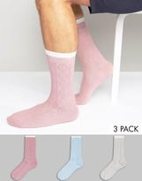 Asos Cable Boot Socks In Pastels 3 Pack