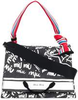 Miu Miu logo graffiti denim tote bag