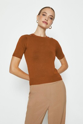 Coast Short Sleeve Trim Detail Knitted Top