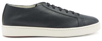 Santoni Cleanic Grained-leather Trainers - Navy