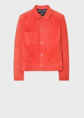Paul Smith Men's Red Suede Trucker Jacket