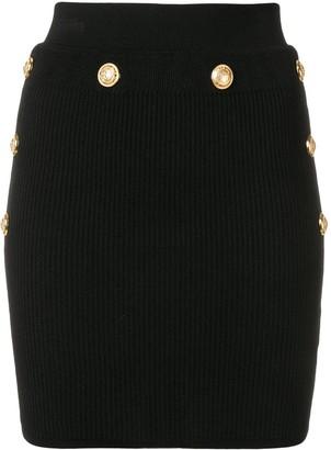 Balmain Knitted Button Mini Skirt