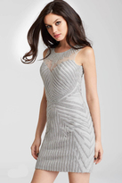 Jovani 55857 Embellished Sleeveless Sheer Illusion Short Dress