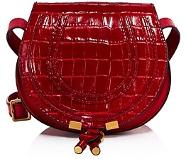 Chloé Marcie Small Croc-Embossed Round Crossbody
