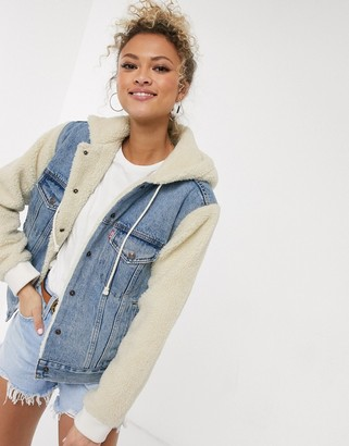 Levi's ex-bf sherpa sleeve denim trucker jacket in blue
