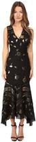 Prabal Gurung Sleeveless V-Neck Chiffon Flounce Dress Women's Dress