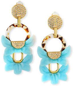 Lele Sadoughi Rio Crystal Floral Drop Clip-On Earrings