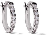 De Beers 18kt white gold Micropave small hoop diamond earrings