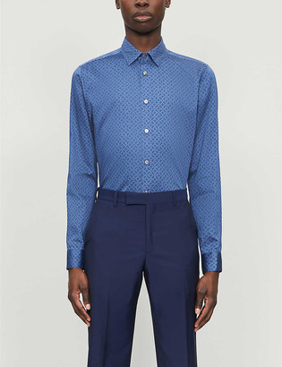 Ted Baker Geometric-pattern regular-fit cotton shirt