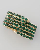 Cara Accessories Crystal Spiral Bracelet, Green
