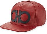 Salvatore Ferragamo Gancini Faux-Leather Baseball Cap, Red/Black