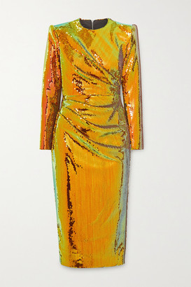 Alex Perry Kelsey Sequined Crepe Midi Dress - Gold