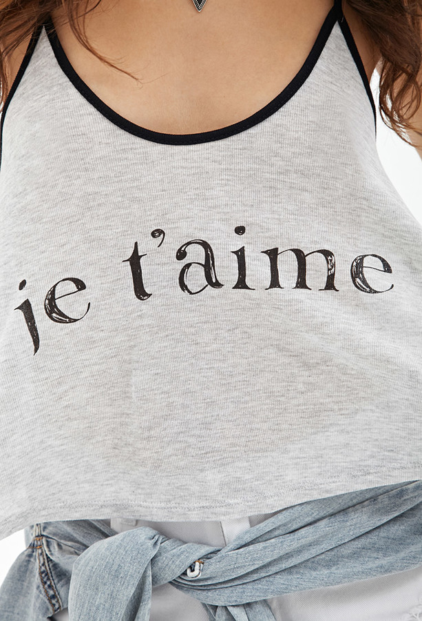 Forever 21 Je T'aime Cropped Cami