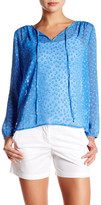 J.Crew Factory J. Crew Factory Sheer Dotted Split Neck Blouse