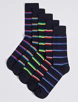 M&S Collection 5 Pairs of Cool & FreshfeetTM Striped Socks