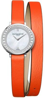 Baume & Mercier Petite Promesse Diamond, Stainless Steel & Wraparound Leather Strap Watch