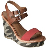 Mossimo Women's Patricia Fabric Covered Wedge Sandal - Red/Zebra