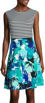 Studio 1 Sleeveless Stripe and Floral Fit-and-Flare Dress