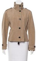 Burberry Standing Collar Suede Jacket