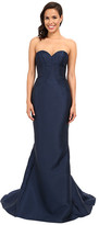 Faviana Strapless Sweetheart Satin Fit & Flare Gown w/ Panel Detailing 7753