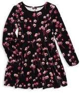Ella Moss Girl's Floral Velour A-Line Dress
