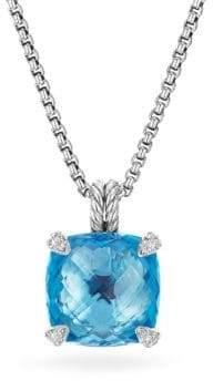 David Yurman ChatelaineBlue Topaz& Diamonds Pendant Necklace