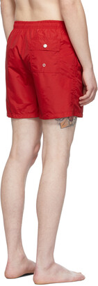 Bather Red Solid Swim Shorts