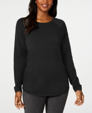 Karen Scott Cotton Textured Curved-Hem Sweater, Created for Macy's