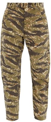 Nili Lotan Emerson Tiger-print Cotton Curved-leg Trousers - Green Multi